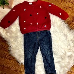 Gymboree Fall Outfit Sweater Polka Dot Red 12-18 M